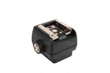 Blitzschuhadapter mit Synch-Buchse für ext. Blitz