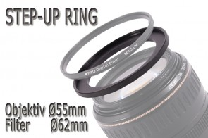 Filteradapter Adapterring Step-Up 55mm - 62mm