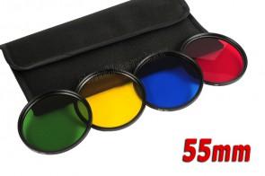 Farbfilter Set 55 mm Grün + Gelb + Blau + Rot
