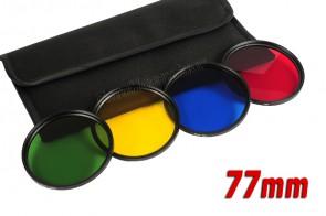 Farbfilter Set 77 mm Grün + Gelb + Blau + Rot