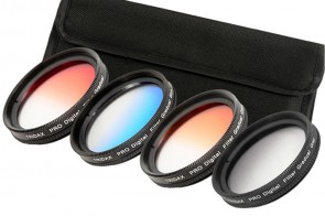 49 mm Verlaufsfilter Set: Rot + Blau + Orange + Grau & Filteretui