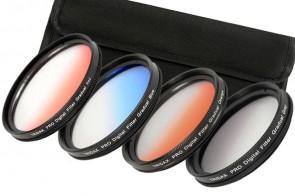 58 mm Verlaufsfilter Set: Rot + Blau + Orange + Grau & Filteretui
