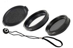 46mm Set: Objektivdeckel + Deckelhalter + UV + Polfilter